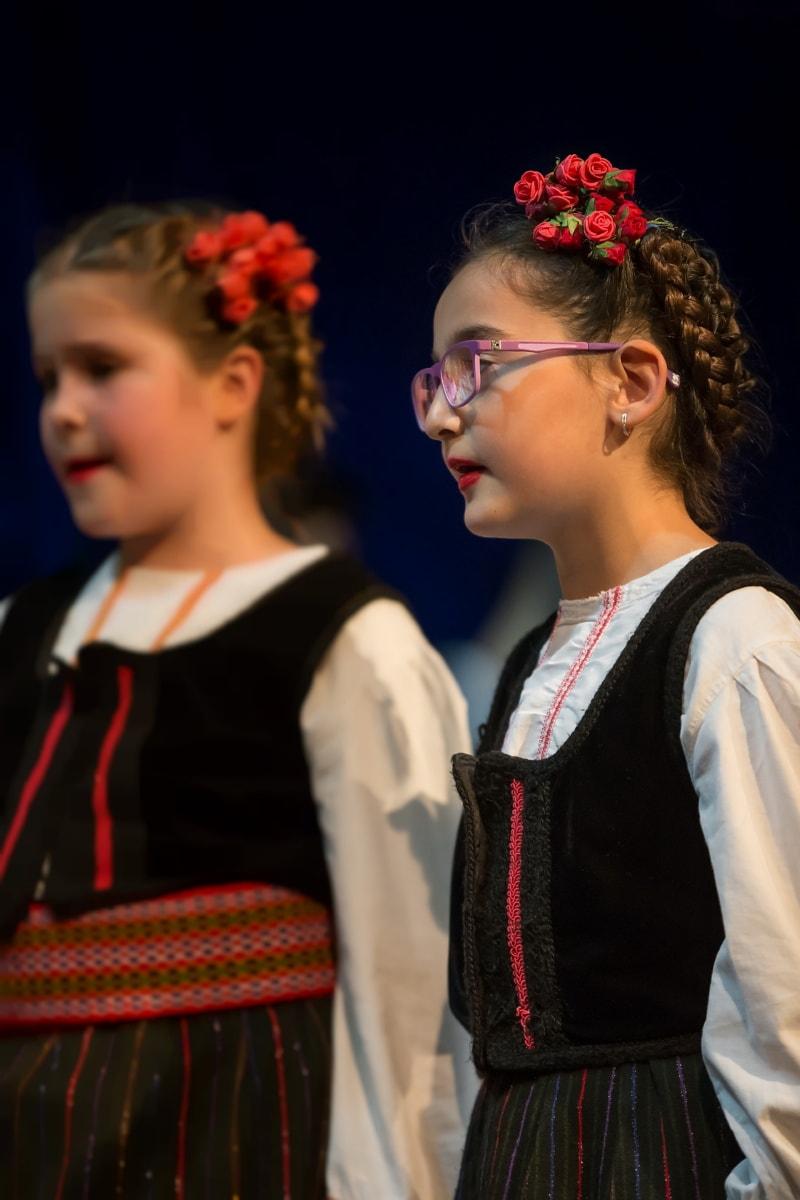 folkemusik, traditionelle, tøj, briller, kostume, Smuk pige, dans, passer til, folk, person