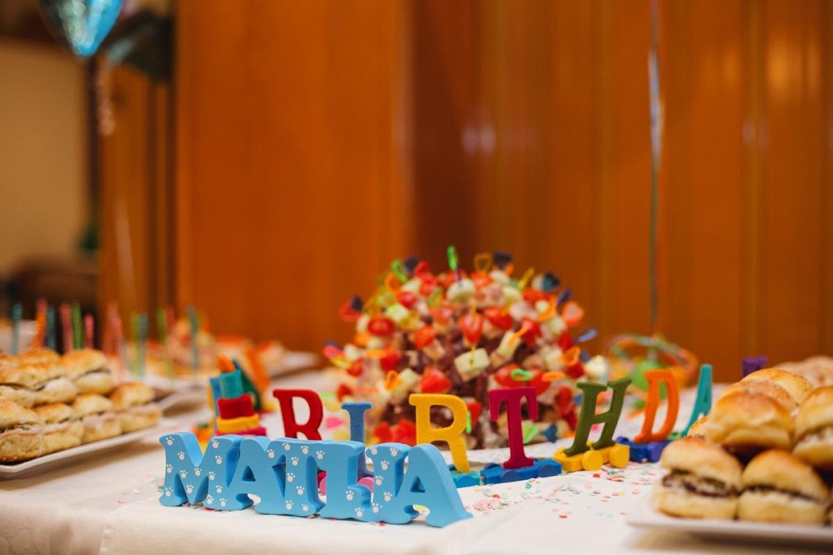 anniversaire, parti, snack, alimentaire, bois, sucre, délicieux, à l'intérieur, bonbons, traditionnel