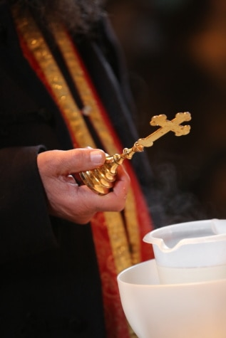 cross, gold, priest, baptism, ceremony, hand, cup, religion, man, spirituality