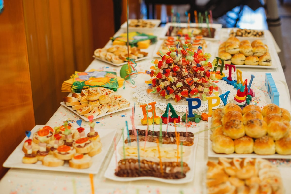 happy, birthday, party, buffet, baked goods, cookies, decoration, birthday cake, plate, restaurant
