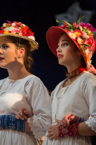 hoed, bloemen, outfit, mode, jonge vrouw, mooie, vrouw, dansen, traditionele, mensen