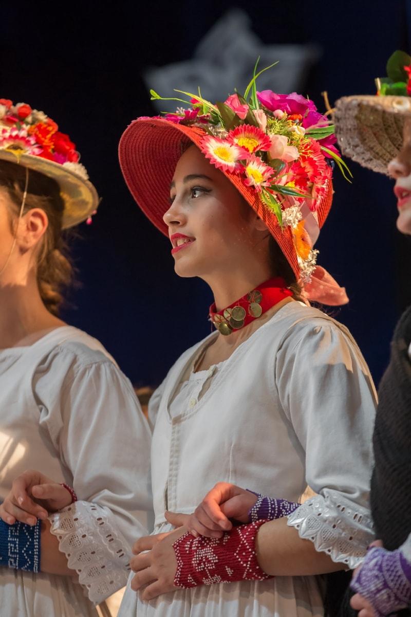 Hut, hübsches mädchen, Blumen, Tradition, Kleidung, Person, Frau, tanzen, Menschen, traditionelle