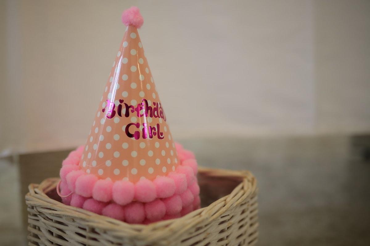Geburtstag, Hut, Dekoration, Rosa, Weidenkorb, Kegel, traditionelle, Holz, handgefertigte, drinnen