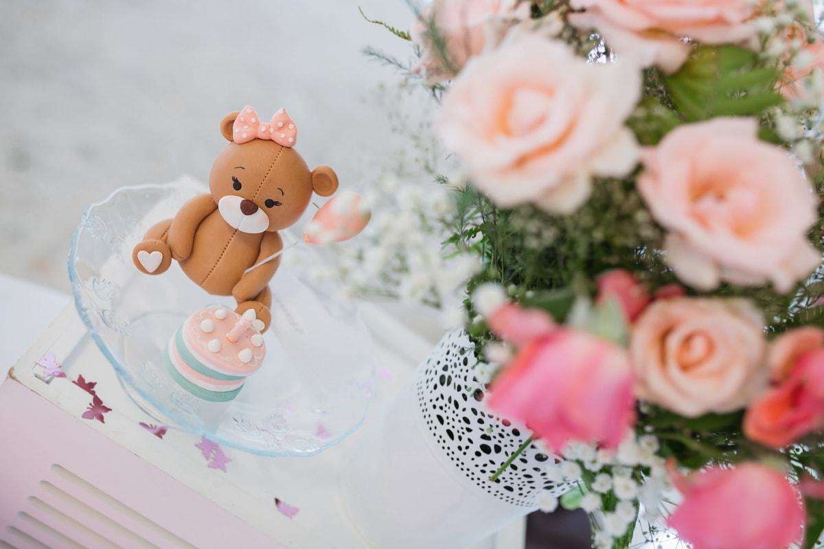 Geburtstagskuchen, Teddybär Spielzeug, Blumenstrauß, Dekoration, Anordnung, Blume, stieg, Engagement, Feier, Geburtstag