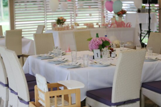 lunchroom, furniture, chairs, baby chair, tablecloth, indoors, chair, tableware, interior design, dining