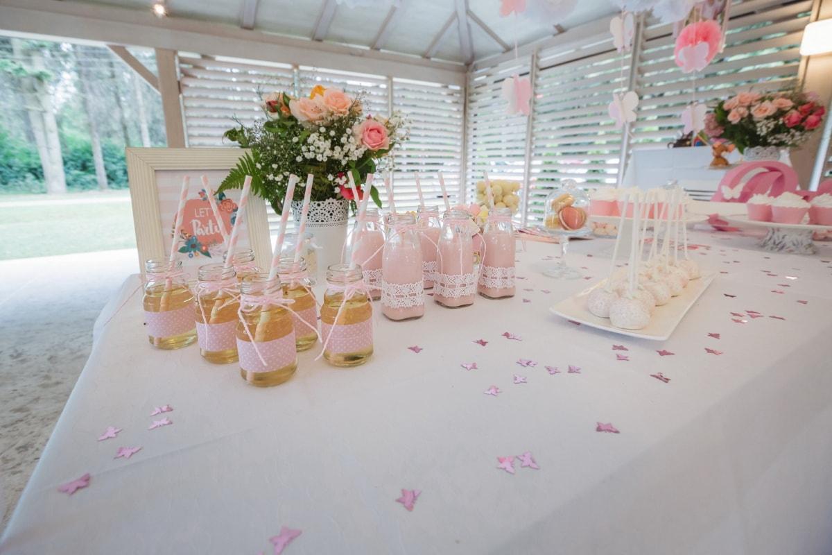 lemonade, dessert, beverage, lollipop, table, glass, indoors, flower, wedding, luxury