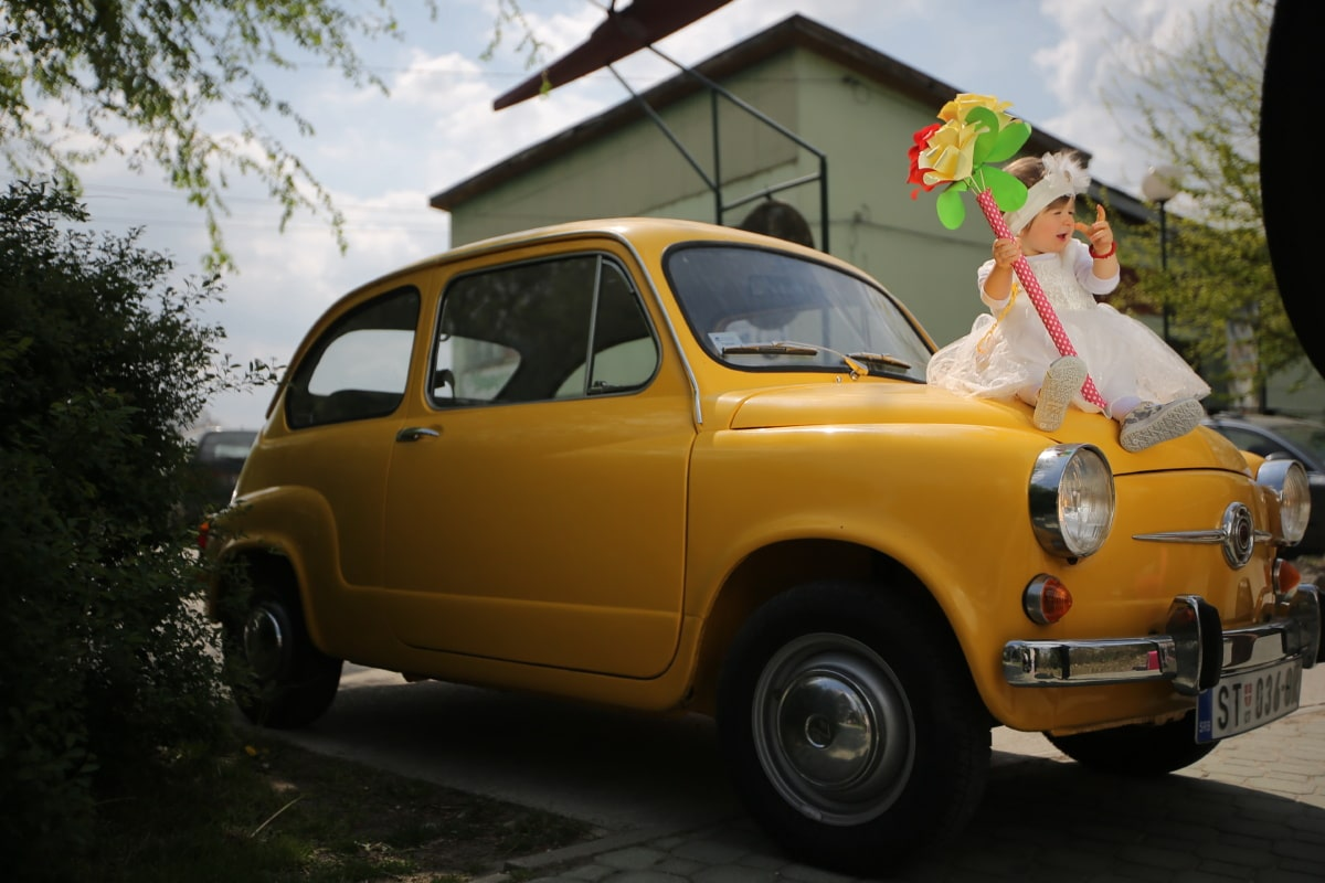 baby, toddler, pretty girl, nostalgia, oldtimer, car, orange yellow, transport, automobile, vehicle