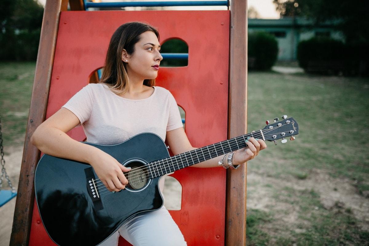 chanteur, Jolie fille, Portrait, guitariste, artiste interprète ou exécutant, guitare, musical, musicien, instrument, musique