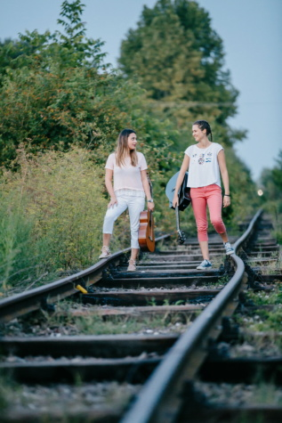 girlfriend, girls, railway, traveler, guitarist, guitar, railroad, track, locomotive, transportation