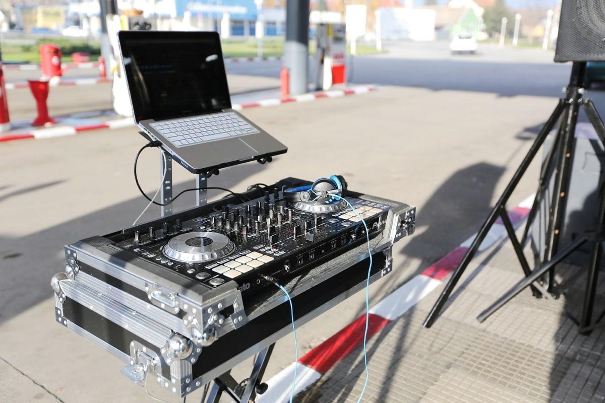music, mixer, laptop computer, device, sound, equipment, computer, technology, laptop, street