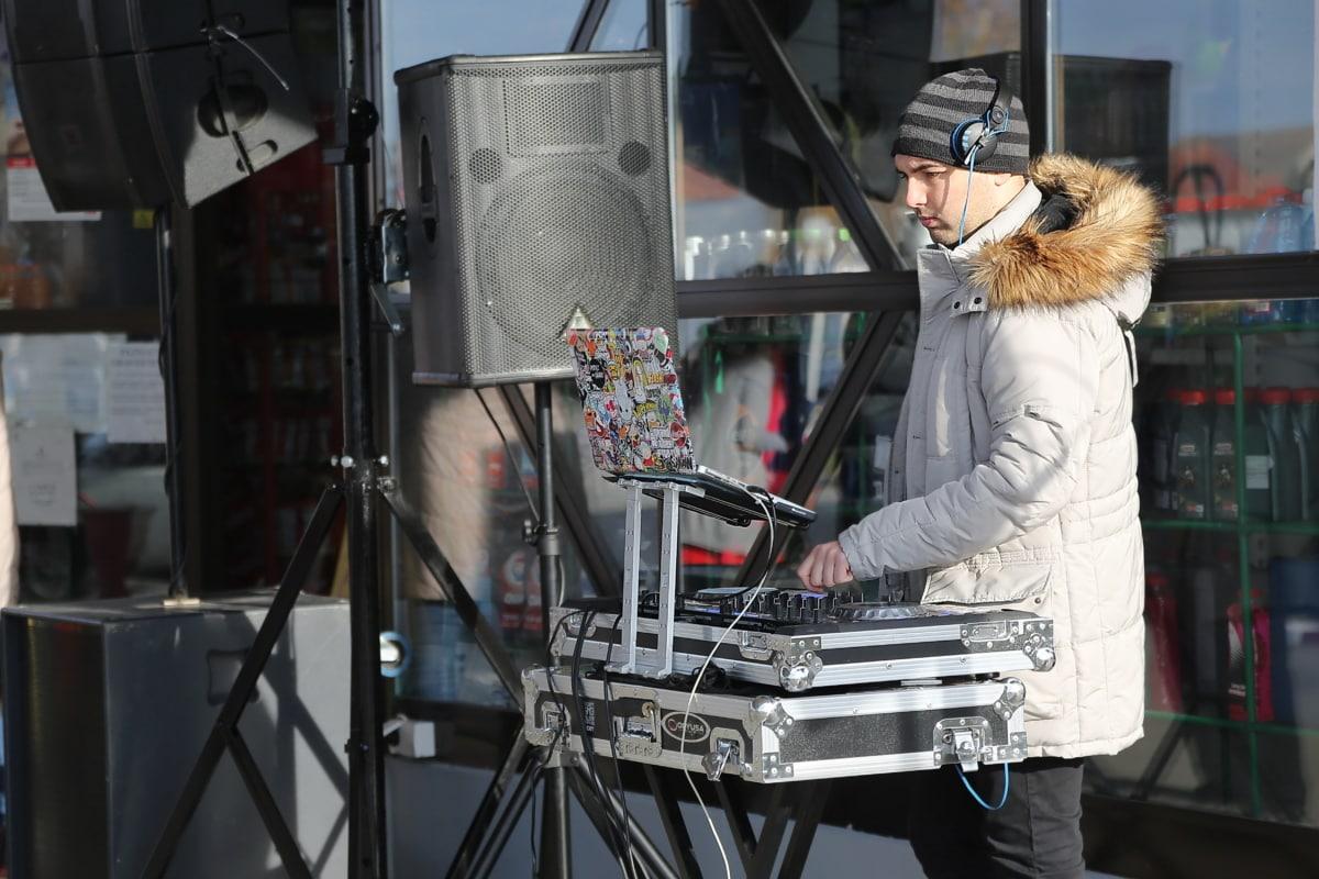 музика, електронни, музикант, мъж, промишлени, Оборудване, портрет, улица, бизнес, град