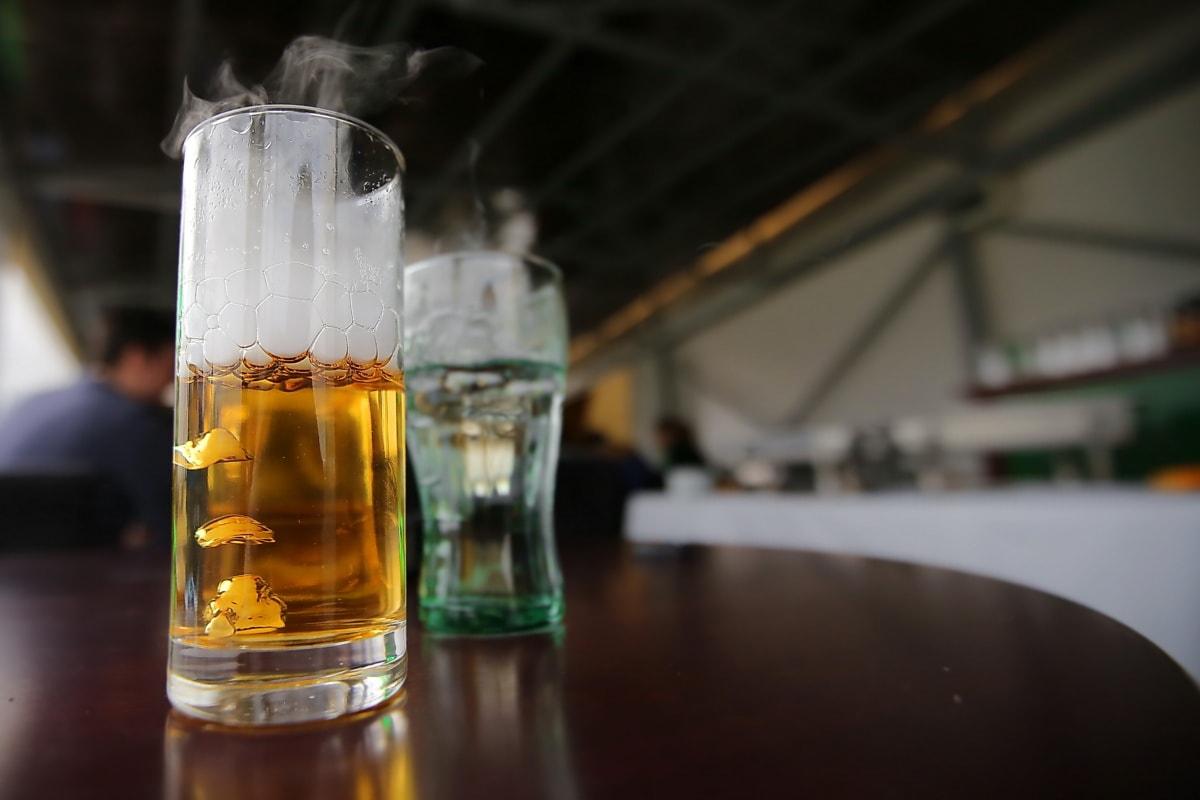 bière, verre à bière, mousse, babiole, fumée, restaurant, boisson, verre, alcool, boisson