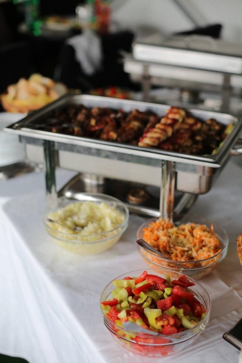 lunchroom, salad bar, buffet, salad, banquet, dinner, meal, food, plate, lunch