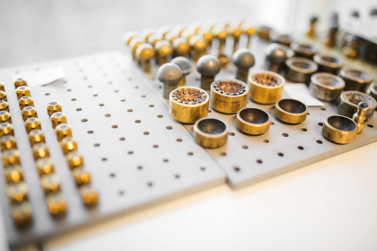 de nombreux, en laiton, secteur d'activité, miniature, outil à main, lieu de travail, unique, coûteux, technologie, Science