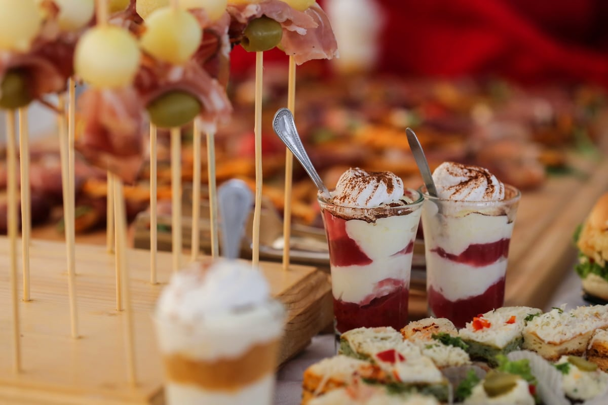 pudding, buffet, snack, sushi, ice cream, appetizer, meal, food, dessert, dinner