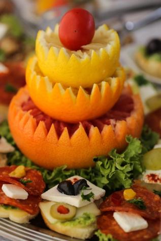 aperitivo, casca de laranja, esculturas em, citrino, buffet de saladas, delicioso, salada, comida, fresco, laranja