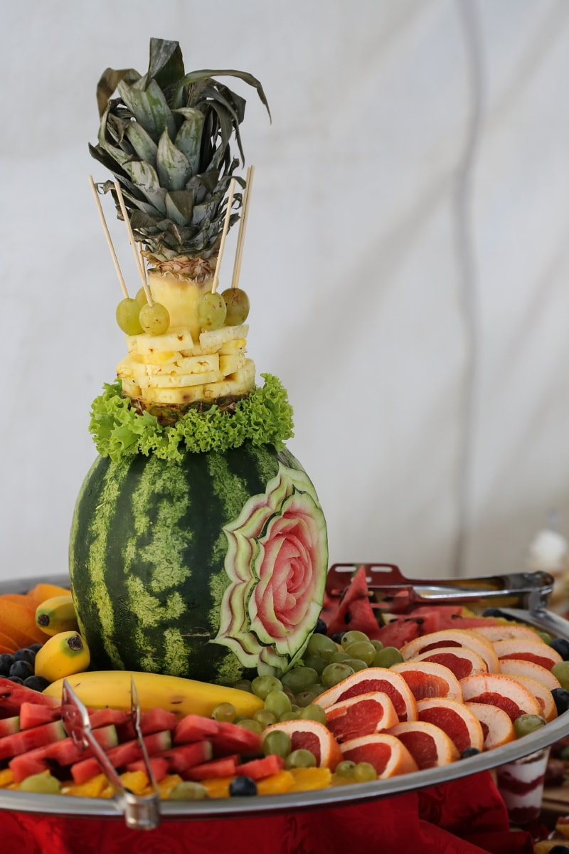 watermelon, carvings, fresh, citrus, appetizer, buffet, fruit, food, health, healthy