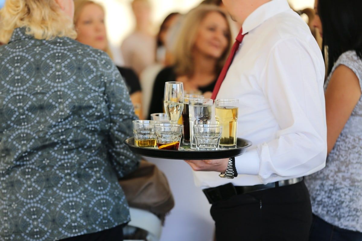 barman, parti, lieu de travail, boisson, Champagne, foule, homme, femme, vin, gens