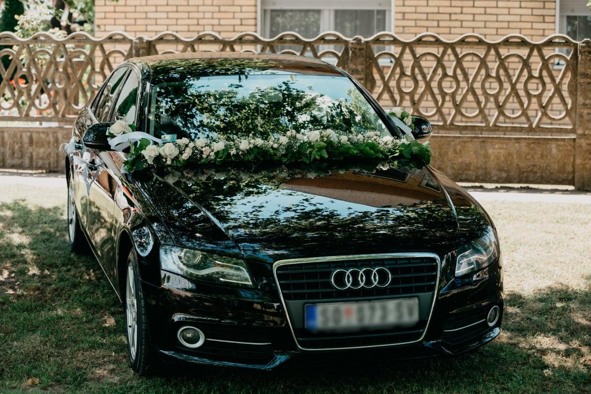 Audi, noir, mariage, cérémonie, sedan, luxe, voiture, classique, véhicule, transport