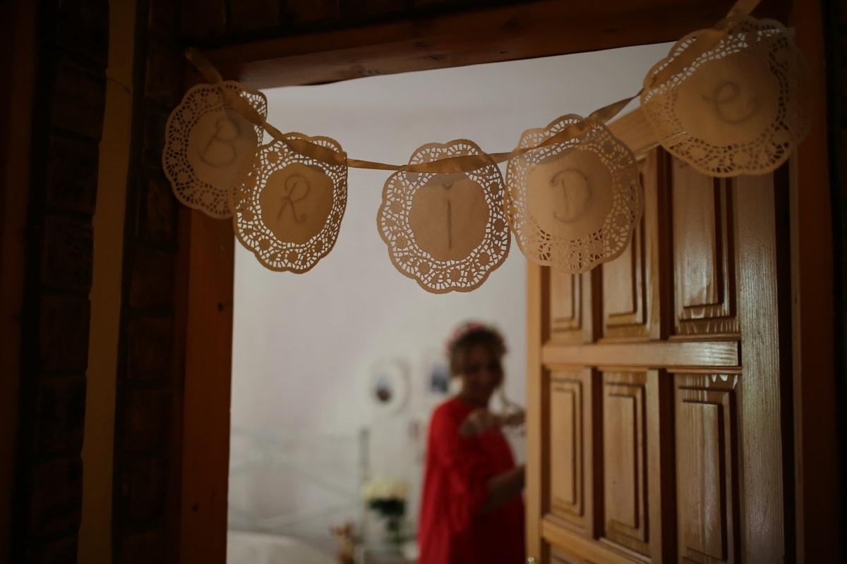 la mariée, décoration, signe, Porte, suspendu, Design d'intérieur, chambre, à l'intérieur, meubles, gens
