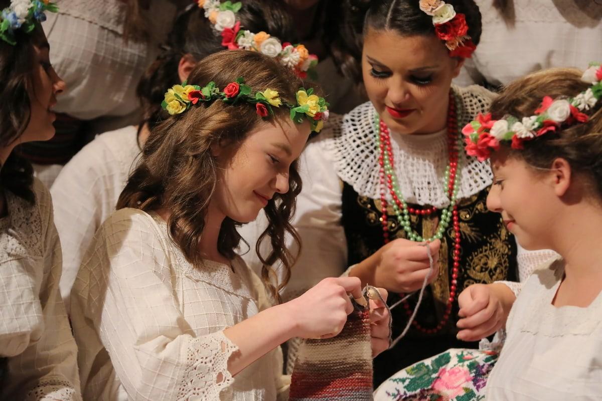 Handwerk, Tradition, handgefertigte, hübsches mädchen, junge Frau, Teenager, untergeordnete, Frau, Menschen, Mädchen