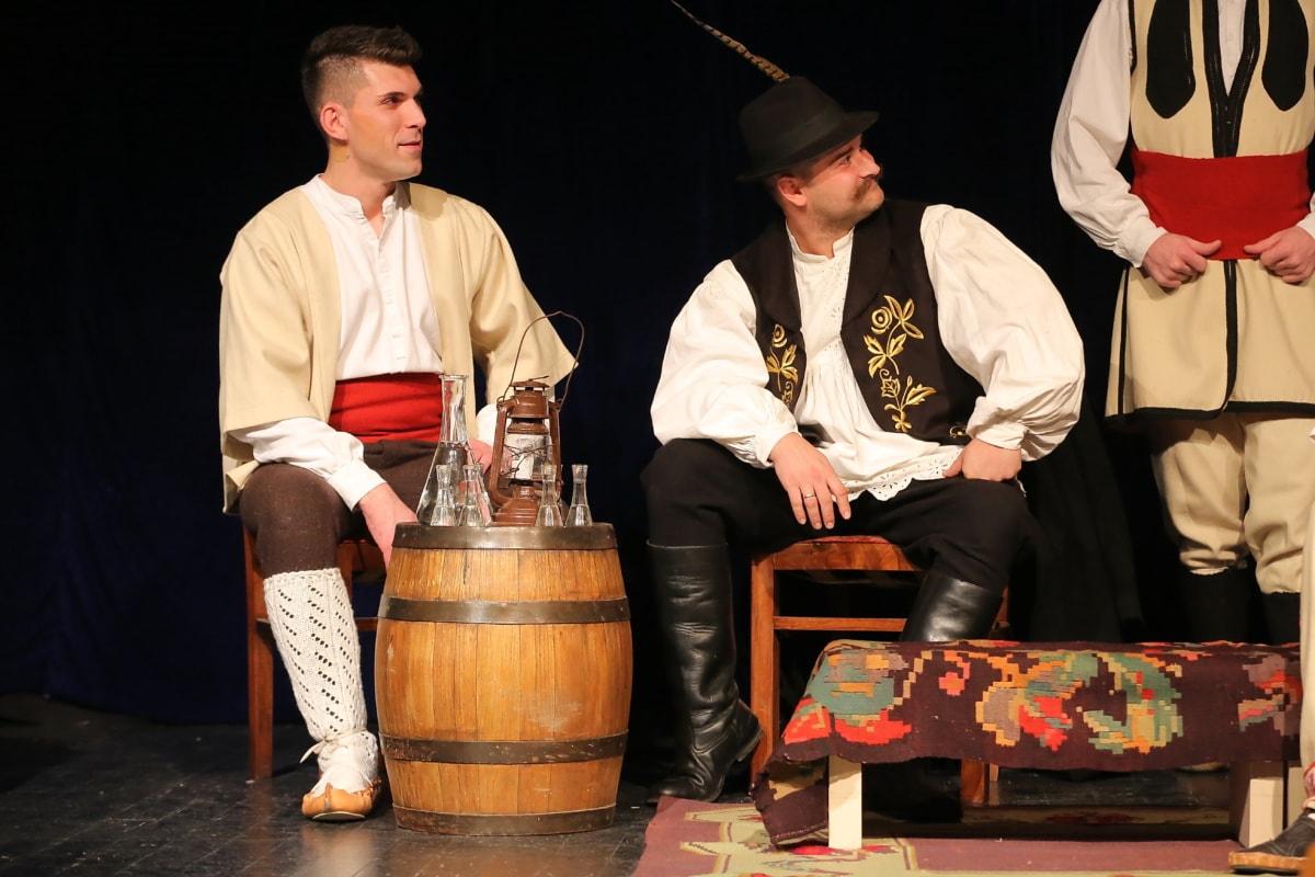 traditionelle, Serbien, Volk, Männer, Kostüm, Mann, Menschen, Theater, Frau, Porträt