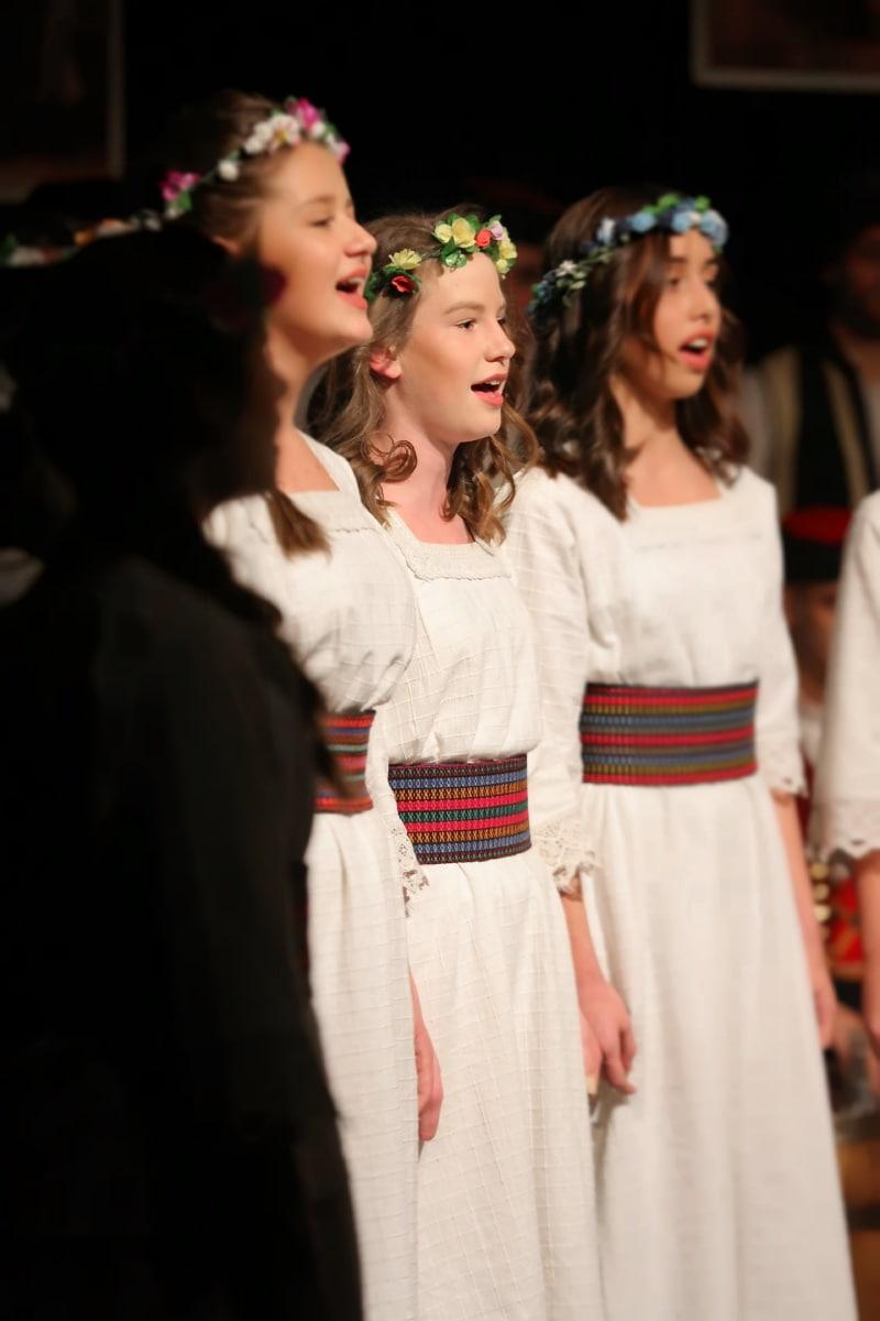 chord, singer, girls, folk, costume, person, woman, fashion, dancing, wedding