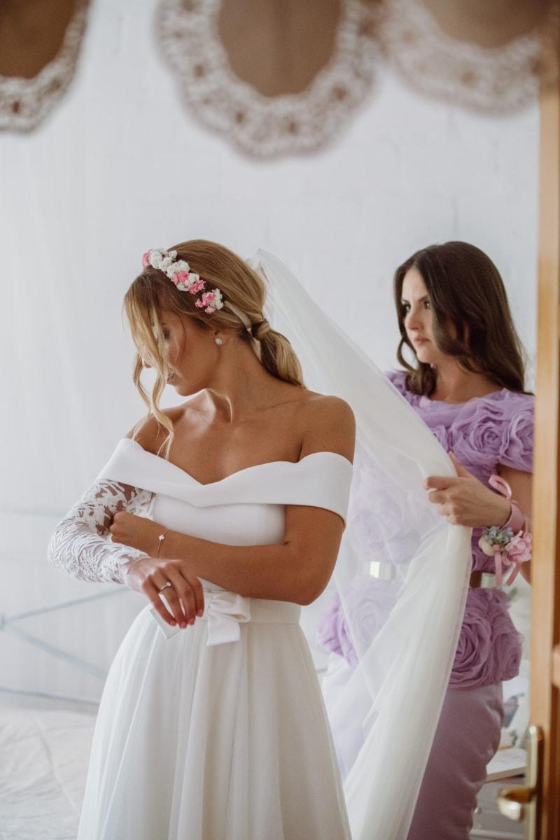 mireasa, elegant, rochie, fete, ajutor, prietenie, femeie, nunta, dragoste, în interior