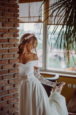 Hochzeit, Braut, Genuss, Wohnung, Heiterkeit, Glück, Glanz, Kleid, Frau, Mode