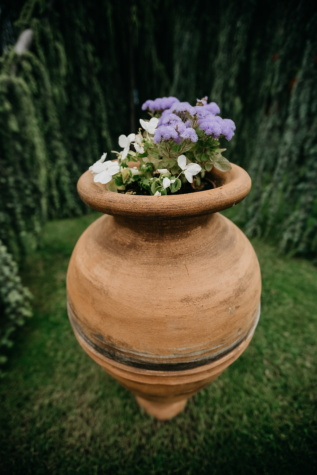 handgemaakte, terracotta, grote, bloempot, hoog, bloem, houder, natuur, tuin, zomer