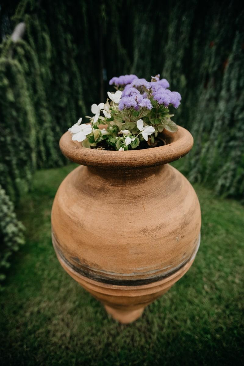 ručni rad, terakota, veliki, saksija za cvijeće, visok, cvijet, kontejner, priroda, vrt, ljeto
