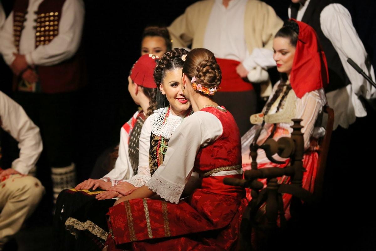 costume, pretty girl, folk, young woman, fashion, girlfriend, theater, friendship, theatre, music
