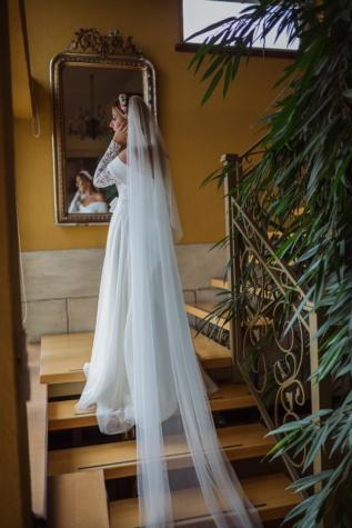 long, veil, staircase, apartments, wedding dress, bride, wedding, dress, groom, fashion