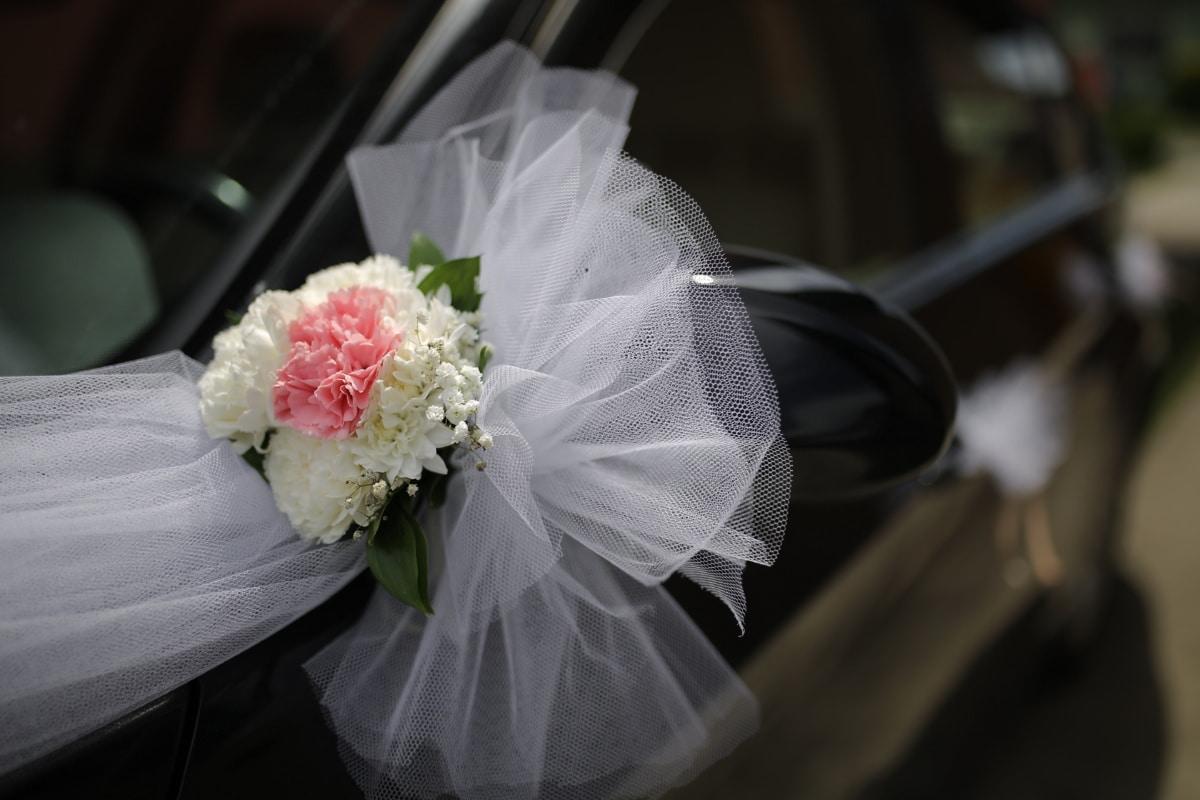 car, mirror, arrangement, sedan, detail, wedding bouquet, wedding, flowers, romance, bouquet