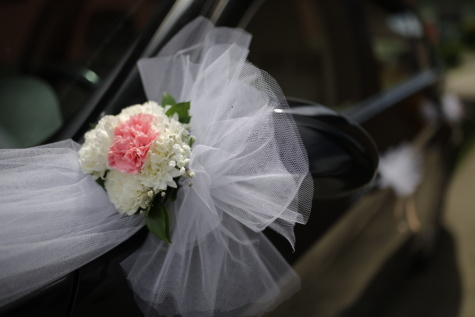 car, mirror, arrangement, sedan, detail, wedding bouquet, wedding, flowers, romance, bouquet