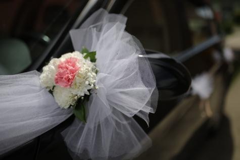 coche, espejo, arreglo, sedán, detalle, ramo de novia, boda, flores, romance, ramo de la