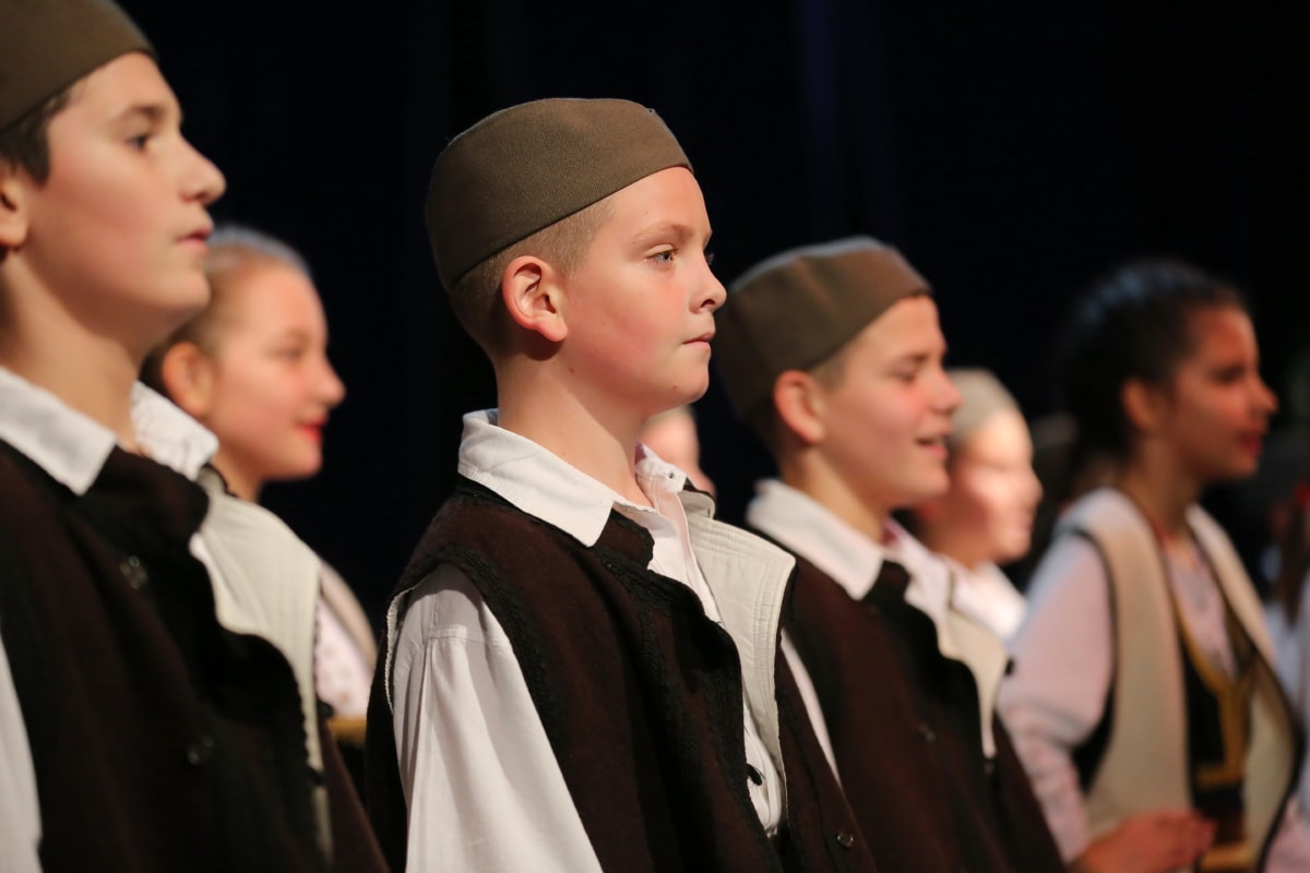 theater, folk, children, dance, old fashioned, boys, suit, team, child, woman