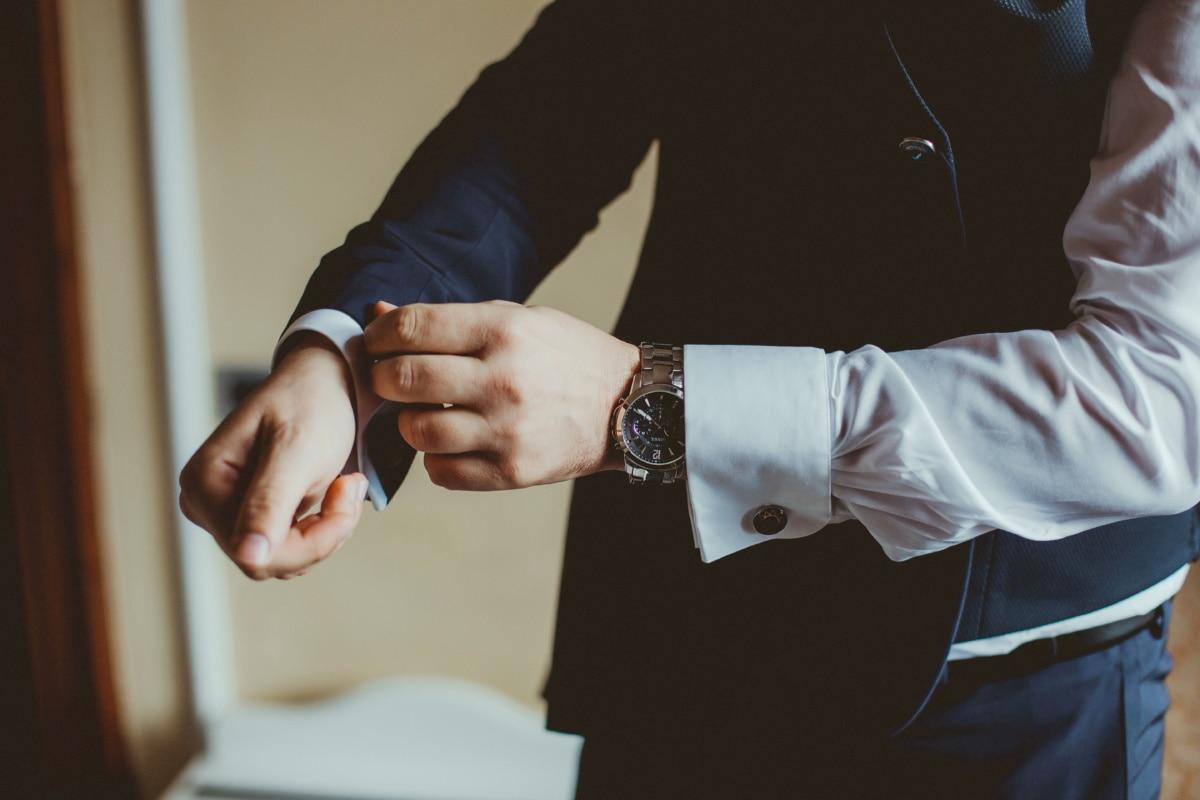 chemise, montre à bracelet, veste, homme d'affaire, manteau, Bureau, main, homme, à l'intérieur, entreprise