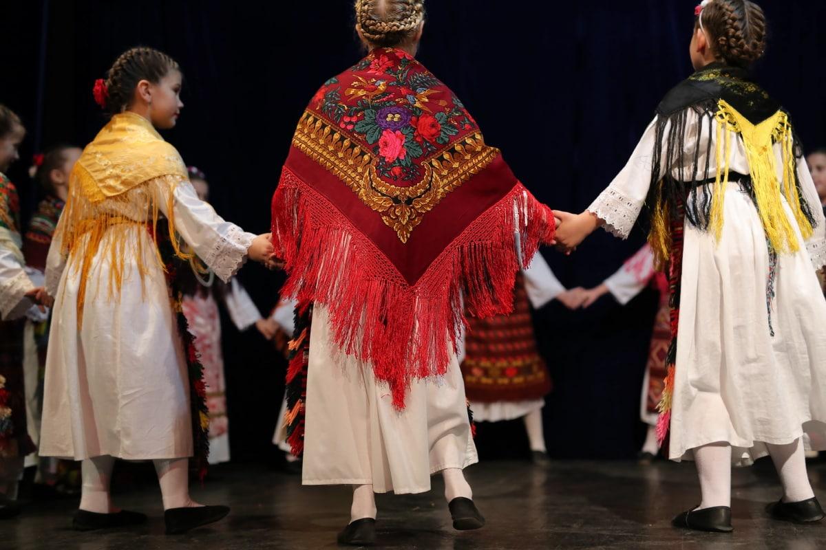 fait main, écharpe, traditionnel, enfants, vêtements, danseuse, danse, costume, populaire, Théâtre