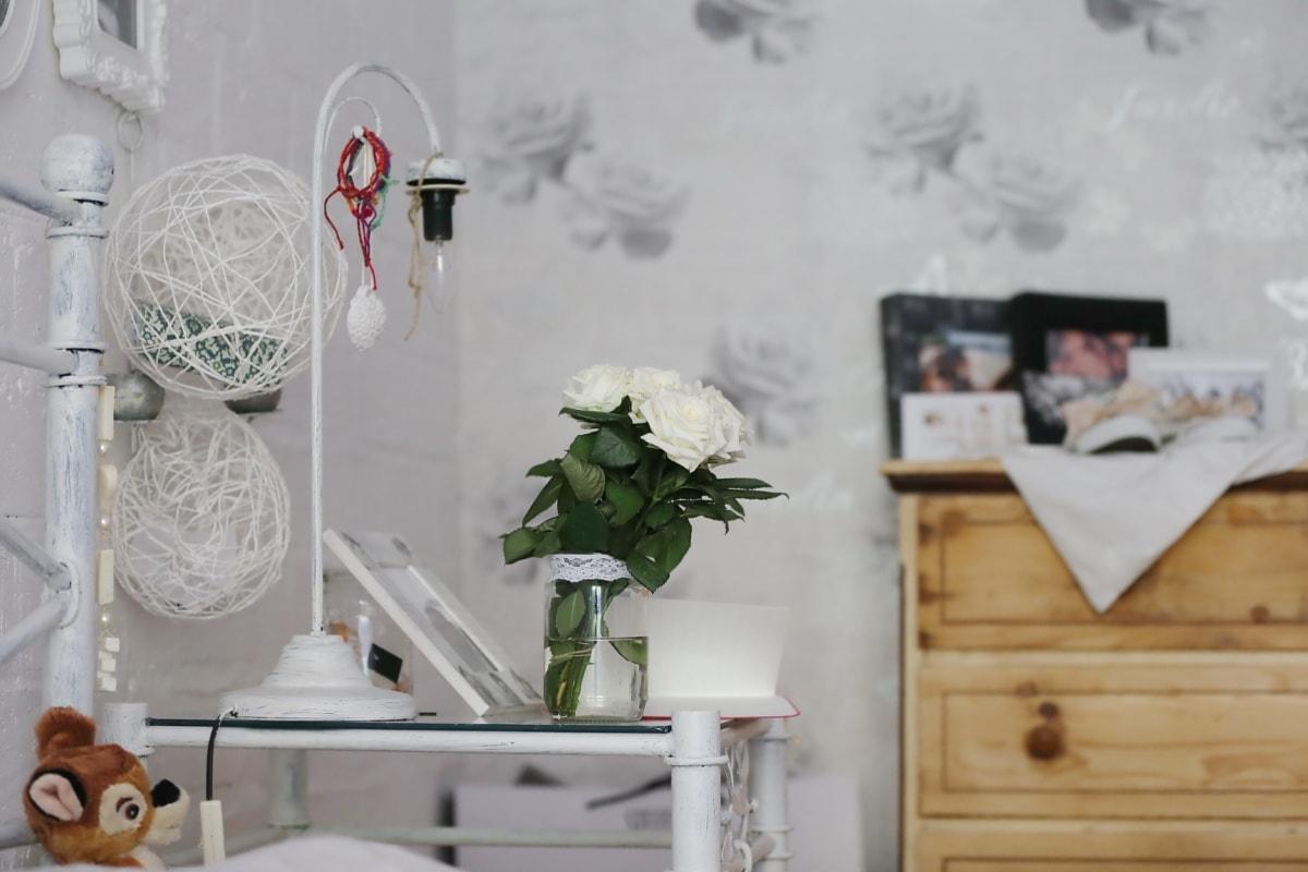 Schlafzimmer, Jahrgang, elegant, Bett, Vase, Möbel, Lampe, Glas, Teddybär Spielzeug, Interieur-design