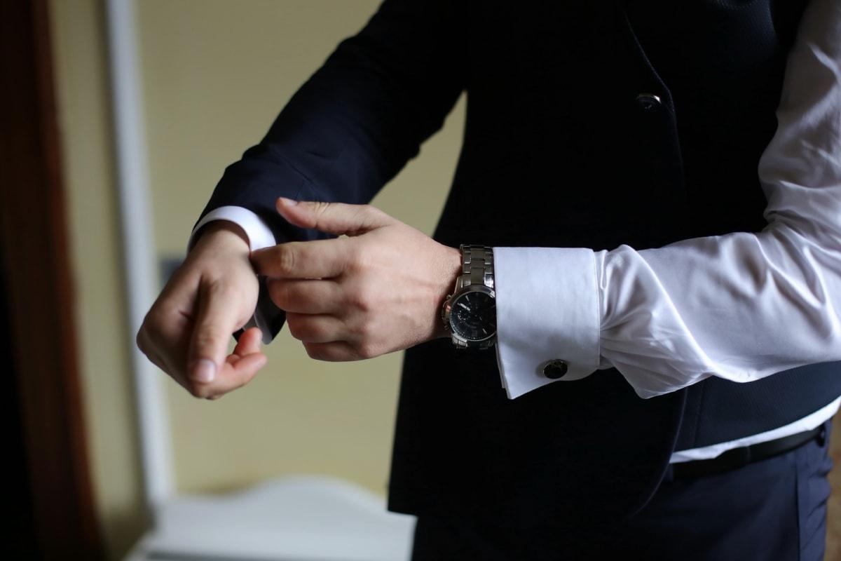 costume de smoking, montre à bracelet, main, veste, costume, homme d'affaire, Gestionnaire, homme, entreprise, gens