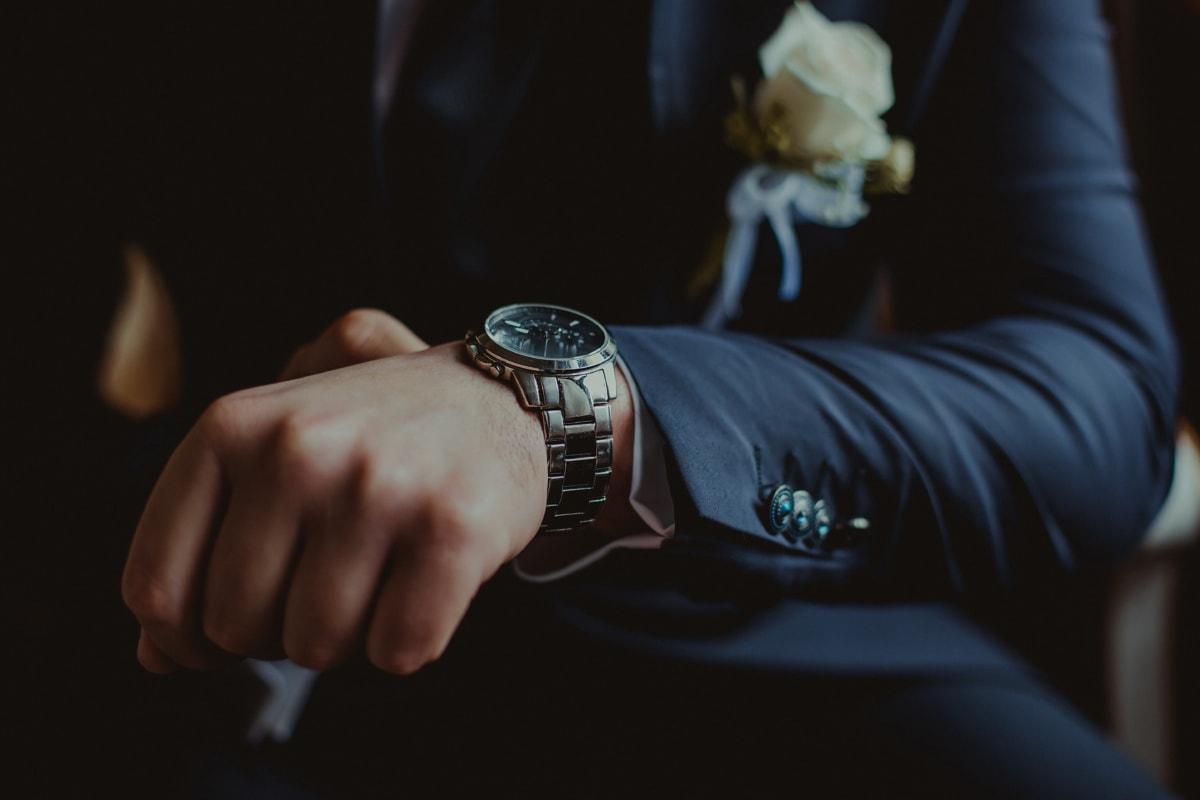 platinum, metallic, wristwatch, shining, businessman, manager, suit, hand, people, man