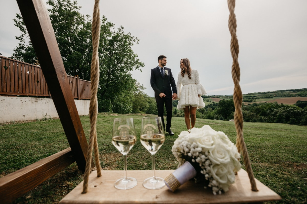 groom, bride, swing, champagne, white wine, people, girl, woman, wedding, nature