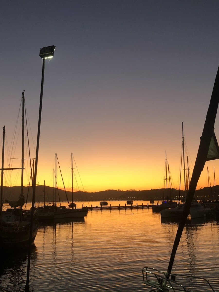 water, sunset, yacht, pier, marina, boat, sea, dawn, ocean, ship