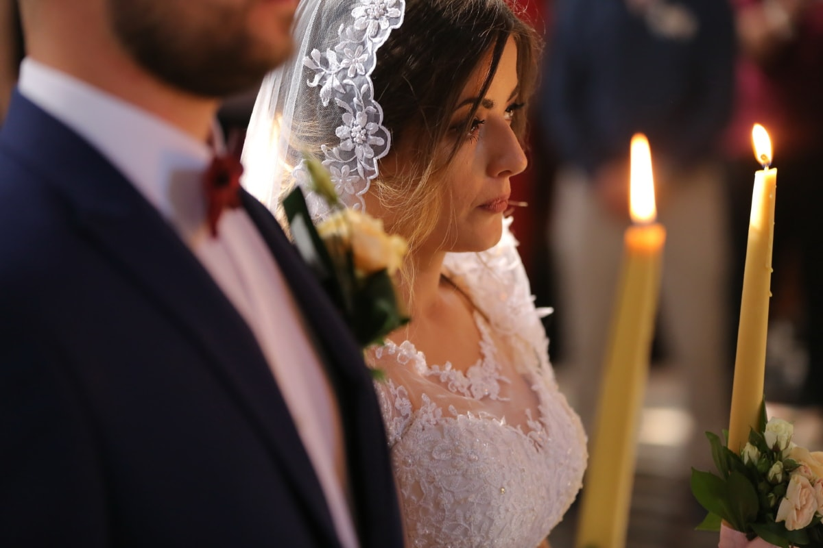 prayer, woman, pretty girl, bride, groom, candles, religion, candlelight, ceremony, suit