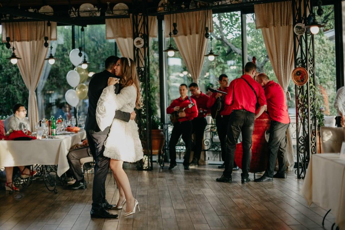 musik, dans, orkester, dans, romantisk, mand, ung kvinde, bryllup, folk, kvinde