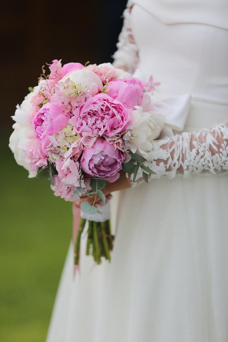 เจ้าสาว, โฮลดิ้ง, ช่อดอกไม้งานแต่ง, งานแต่งงาน, สีชมพู, ช่อดอกไม้, โรแมนติก, การแต่งงาน, กุหลาบ, การมีส่วนร่วม
