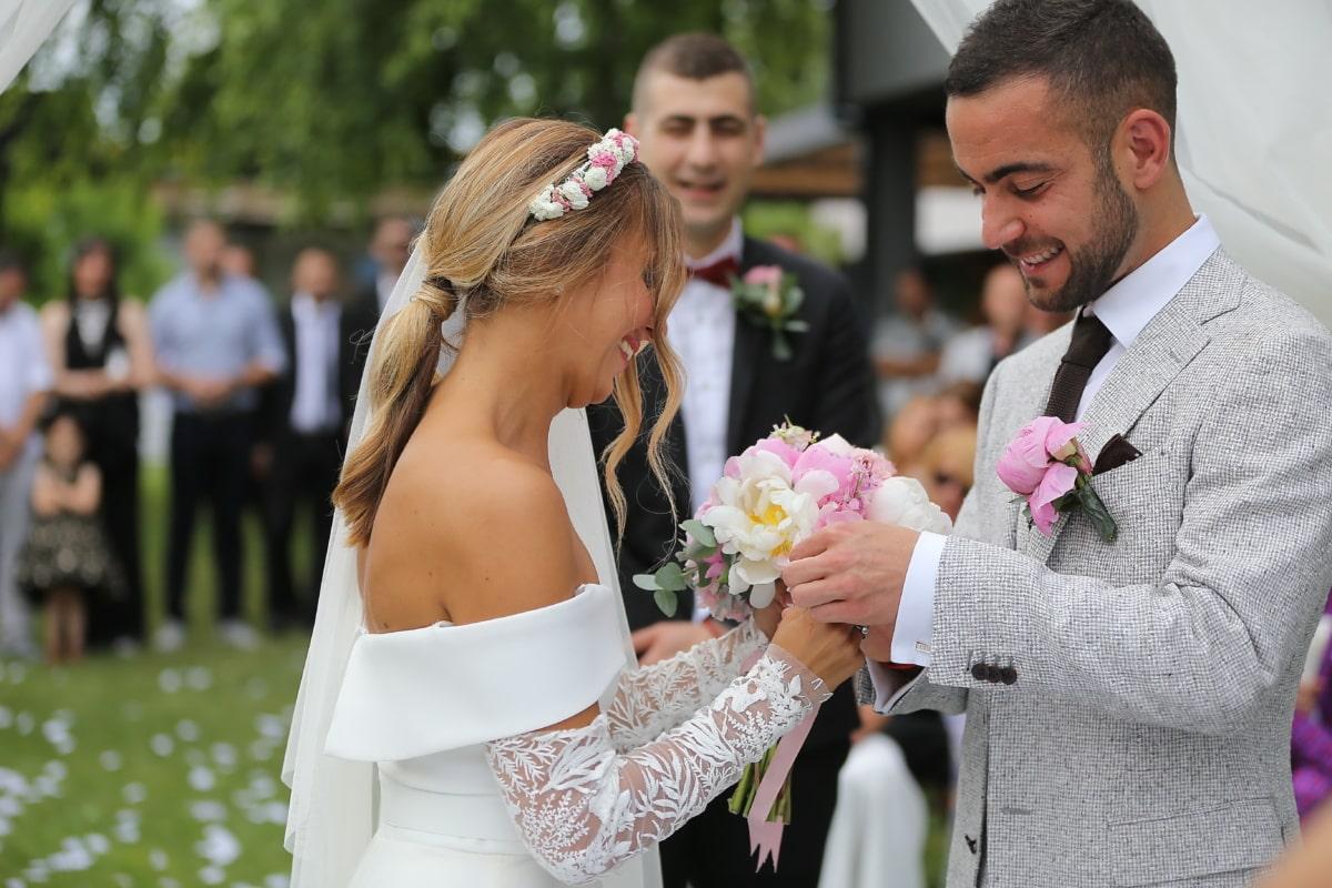 vőlegény, esküvői ruha, menyasszony, esküvő, meg, keresztapa, ünnepség, házasság, elkötelezettség, pár