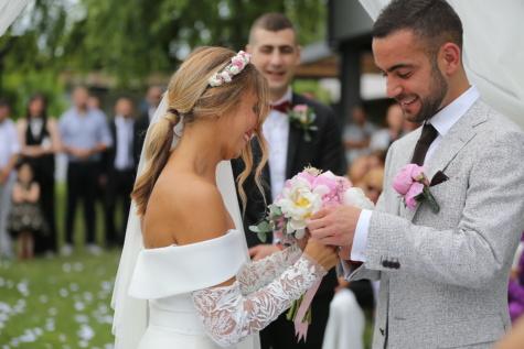 신랑, 웨딩 드레스, 신부, 웨딩, 친구, 대부, 행사, 결혼, 참여, 커플