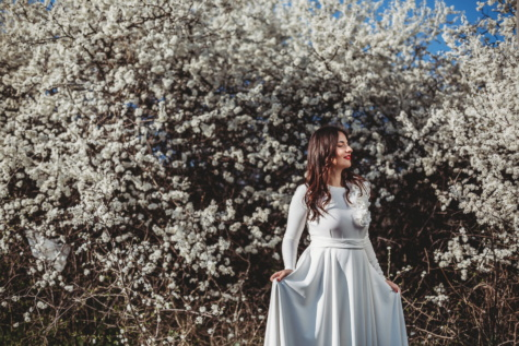 spring beauty, spring time, sunny, outdoors, pretty girl, white flower, dress, tree, flower, nature